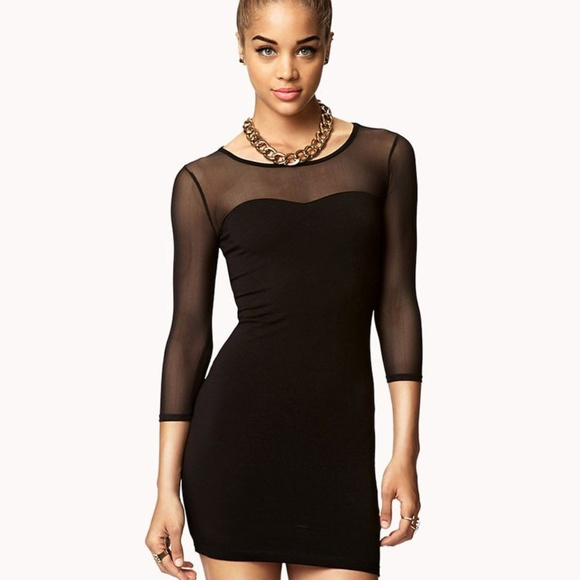 c5b80fac8ac6 Forever 21 Dresses | Sexy Bodycon Sheer Mesh Long Sleeve Dress ...